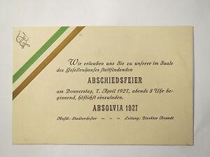 absolvia - 1927 - einladung zur abschiedsfeier / studentika, Einladung