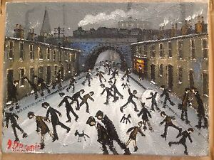 JAMES-DOWNIE-SIGNED-ORIGINAL-OIL-PAINTING-RAILWAY-STREET-mint-with-invoice