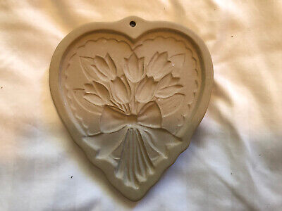 E28B VINTAGE BROWN BAG 1997 SHORTBREAD COOKIE MOLD/PRESS HEART TULIPS FLOWER