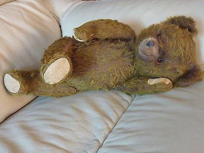 alter Teddy - Teddybär  mit Holzwollfüllung - Glasaugen - Spielzeug