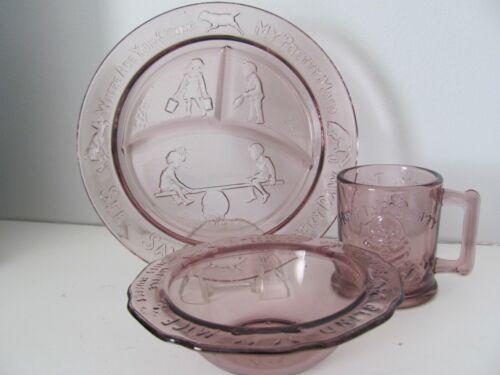 VTG Tiara Amethyst Glass 3pc Nursery Rhyme Child