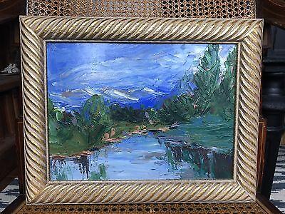 Beautiful Painting Impressionist Landscape Vintage Blues Green Gold Frame oil
