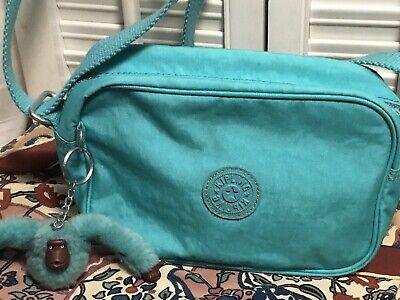 Kipling Bess Nylon Crossbody Shoulder Handbag Travel Bag Turquoise Blue Small