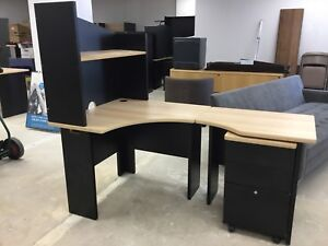 L shape desk with expansion and filing cabinet