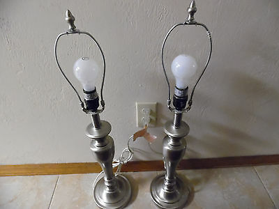 """Pair Of Silver Colored 20 1/2"""" Tall Table Lamps"""