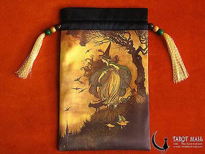 """""""The Little Witch"""" - silk Tarot bag"""