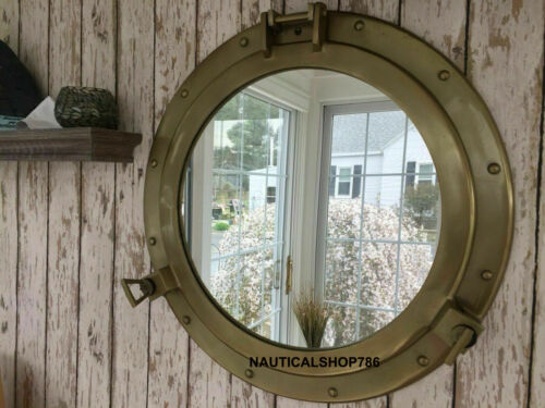 Antique Brass Nautical Maritime Ship Boat Window & Wall Mirror Porthole 20 Inch