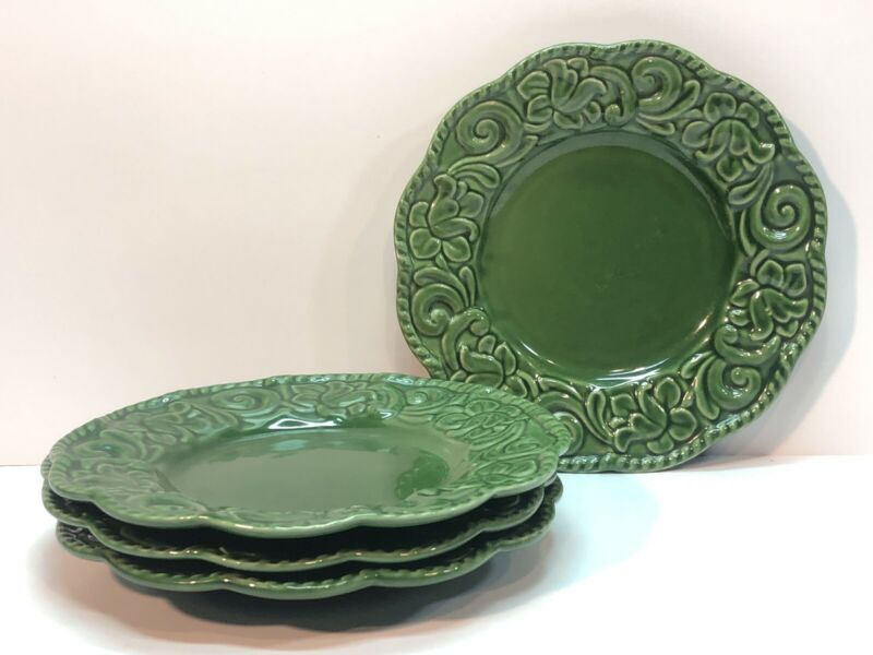 Certified International Florentine Salad Plates Green Set Of 4