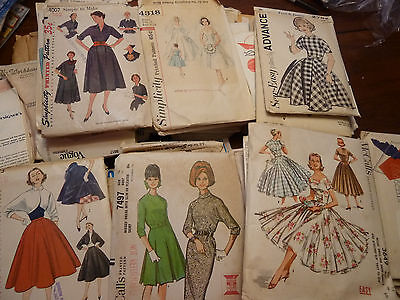 Vintage 1950s 1960s Sewing Patterns Butterick Simplicity McCalls More! Lot of 65