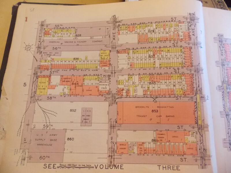ORIG 1928 Brooklyn Sunset Park NYC 10.5 x 12 Map 1