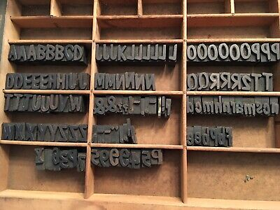 Antique Wood Letterpress Printing Press Type Block Letters Typeset Blocks 120 Pc
