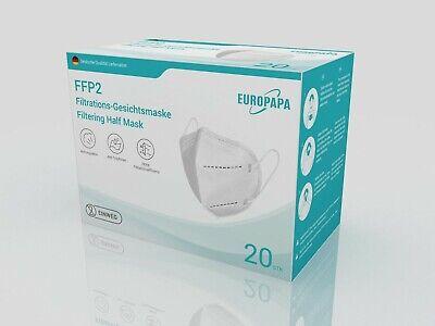 20 x FFP2 Einweg-Atemschutzmaske Nasendichtung CE2163 und Dekra ✅DE-Händler