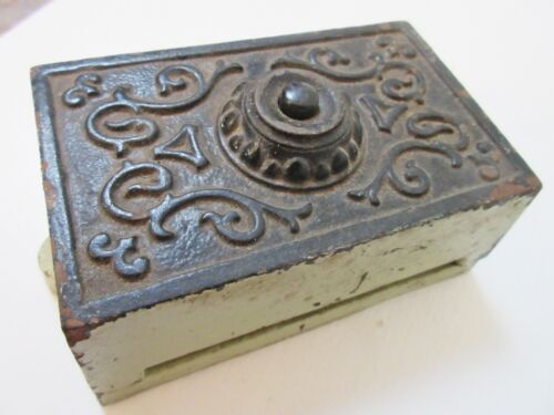 Antique Ornate Cast Iron Doorbell Bakelite Button Electric