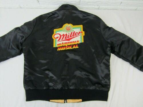 Miller High Life BEER Satin Zip Black Jacket Sz LARGE Embroidered Patch