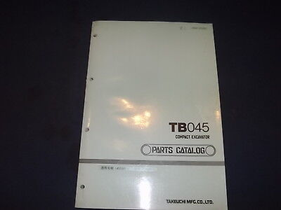 Takeuchi Tb045 Compact Excavator Parts Catalog Book Manual Oem