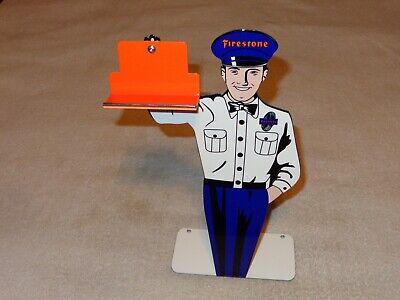 """VINTAGE FIRESTONE TIRES 12"""" METAL BUSINESS CARD HOLDER TIRE GASOLINE & OIL SIGN"""