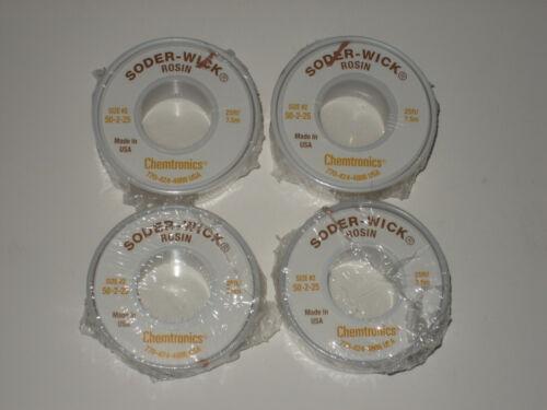 (4) #2 Chemtronics Solder-Wick Rosin 50-2-25 .06 25