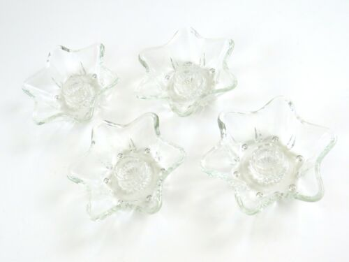 """Candle Holder Vintage 4"""" Clear Glass Star Shaped for Tapered Candles, Set of 4"""