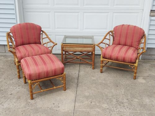4 Pc McGuire Bamboo Rattan Patio Set, 2 Lounge Chairs, Ottoman & Table,