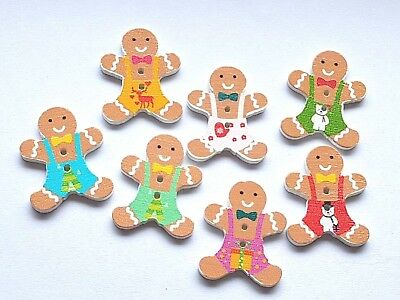 WOODEN GINGERBREAD MAN CRAFT SEWING BUTTONS EMBELLISHMENTS 30MM CHRISTMAS ](Gingerbread Man Craft)