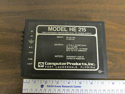 Computer Products Inc He 215 Dual Dc Power Supply Pos Neg 12-15v Adjustable