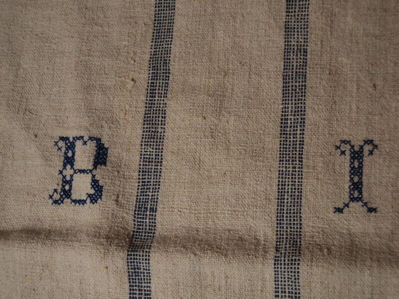 Antique European Feed Sack GRAIN SACK BI Monogram #3767