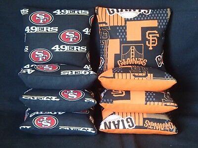 (San Francisco 49ers Giants Set of 8 Cornhole Bean Bags FREE SHIPPING)