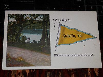 SALTVILLE VA - 1933 POSTCARD - PENNANT GREETINGS - WASHINGTON and SMYTH COUNTY