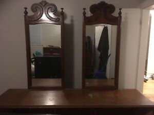 Antique dresser with 2 large mirrors