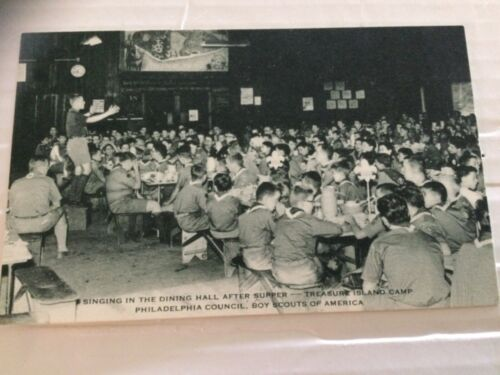 Treasure Island Camp Postcard Singing in the Dining Hall Black & White