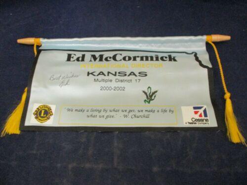 Vintage Lions Club Banner Flag 2002 Ed McCormick SIGNED Kansas District 17