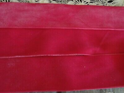 """NOS-woven edge VINTAGE 1/"""" WIDE BY THE YARD DEEP RED COTTON VELVET RIBBON"""