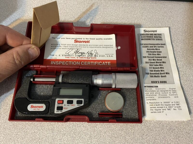Electronic Digital Micrometer No. 733 Starrett With Certificate