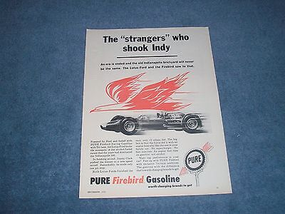 """1963 Pure Firebird Gasoline Indy 500 Lotus Ford Ad """"The Strangers Who Shook Indy"""
