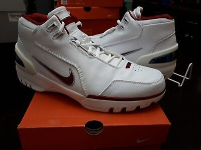 dc1ba68880a9 2003 NIKE AIR ZOOM GENERATION LEBRON JAMES 308214-161 WHITE CRIMSON SIZE 12