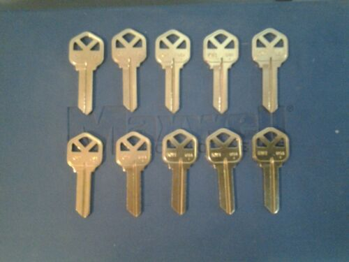 10 key blanks for Kwikset, KW1, 5 pin, solid brass blank, Ilco Taylor brand