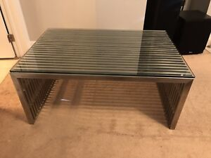 Designer metal and glass coffee table