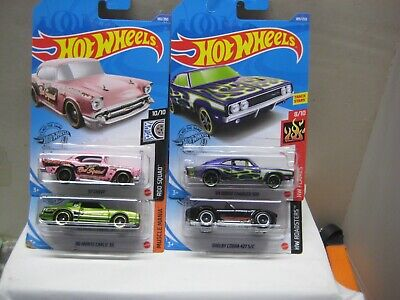 HOT WHEELS MINT BRAND NEW 2020 L CASE LOT OF 4 MUSCLE CARS CHARGER, '57 CHEVY