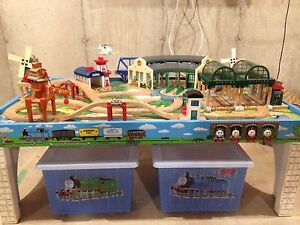 Complete wooden Thomas train table