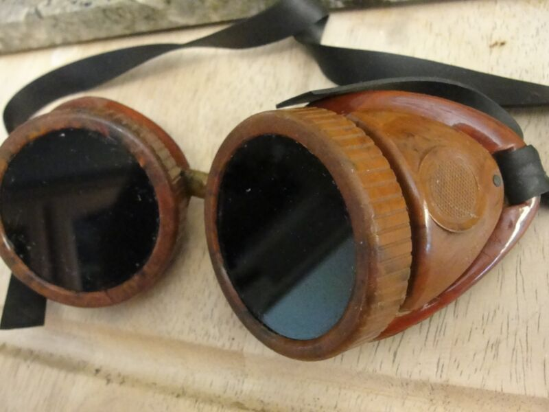 VINTAGE WELDING GOGGLES steampunk wear googles steam punk USA BAKELITE goth eye