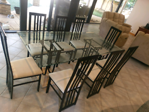 8 Seater Glass Top Dining Table Set Gwelup Stirling Area Preview