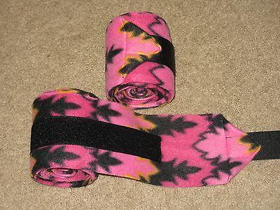NEW set of 2 black and pink print polo wraps (horse/pony leg wraps)