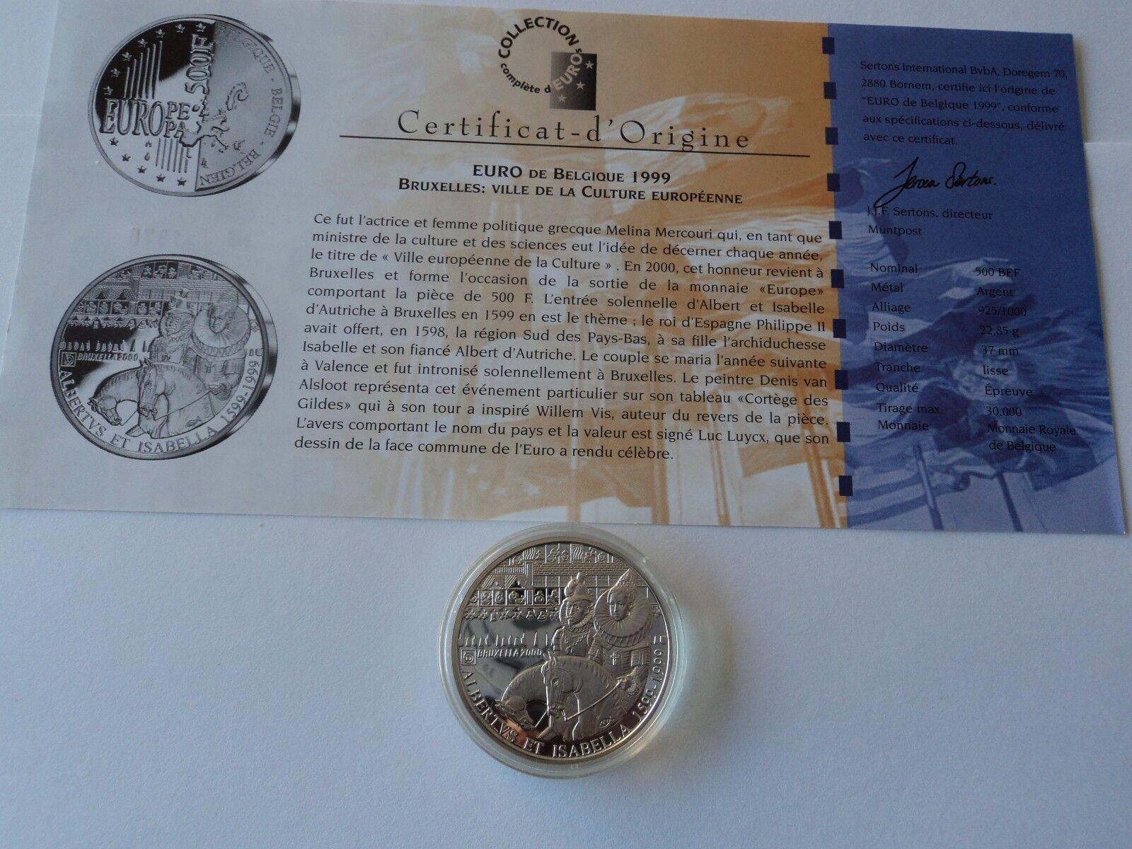 500 Frs  Argent 1999 Albertus & Isabella FDC avec certificat . 19.03 gr argent .