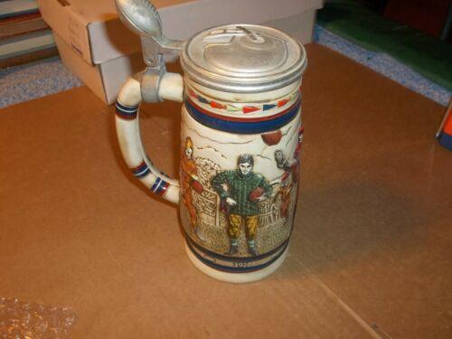 Vintage Avon Football Beer Stein Pewter Lid 1983 Numbered Ceramic Brazil Sports