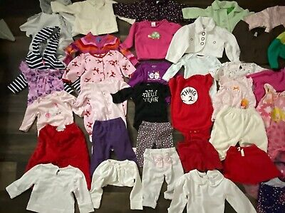 Infant Girl's Mixed Clothing Lot Of 39 Pcs, 6-12mo & 12-18mo, Great Brands, GUC