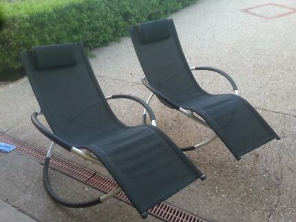 NEAR NEW -GRAVITY INDOOR/OUTDOOR ROCKING LOUNGERS -$150 PAIR G.C.