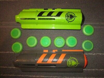 2x Nerf Firefly Grey & Green Vortex Lumitron Disc Light Up Magazines Ammo Clips