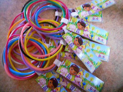 12 sets of Doc McStuffins birthday party favor bracelets with Custom Disney tag  (Doc Mcstuffins Birthday Party)
