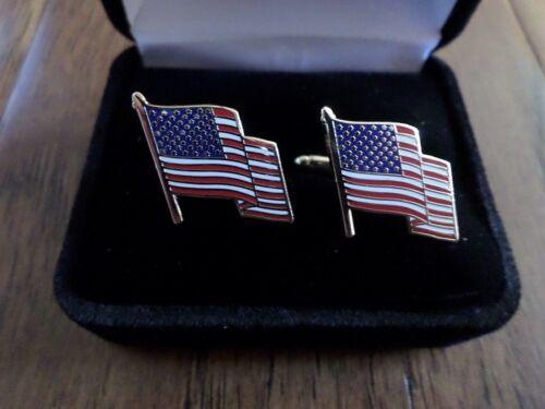 U.S.A AMERICAN FLAG CUFFLINKS WITH JEWELRY BOX 1 SET CUFF LINKS BOXED