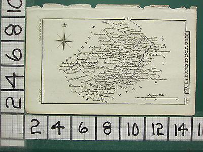 c1833 GEORGIAN MAP ~ MONTGOMERYSHIRE ~ MONTGOMERY LANFAIR MACHYNLETH NEWTOWN
